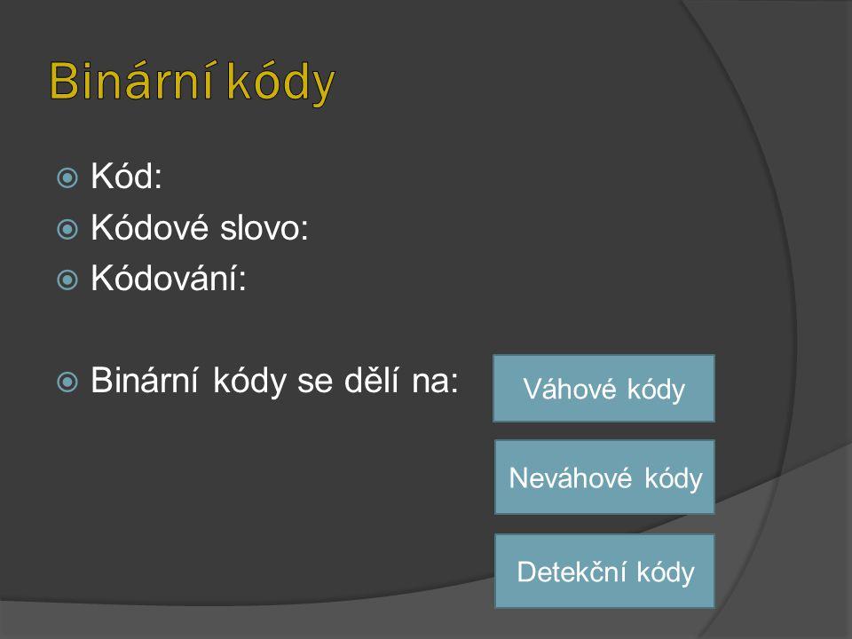 Binární kódy Kód: Kódové slovo: Kódování: Binární kódy se dělí na:
