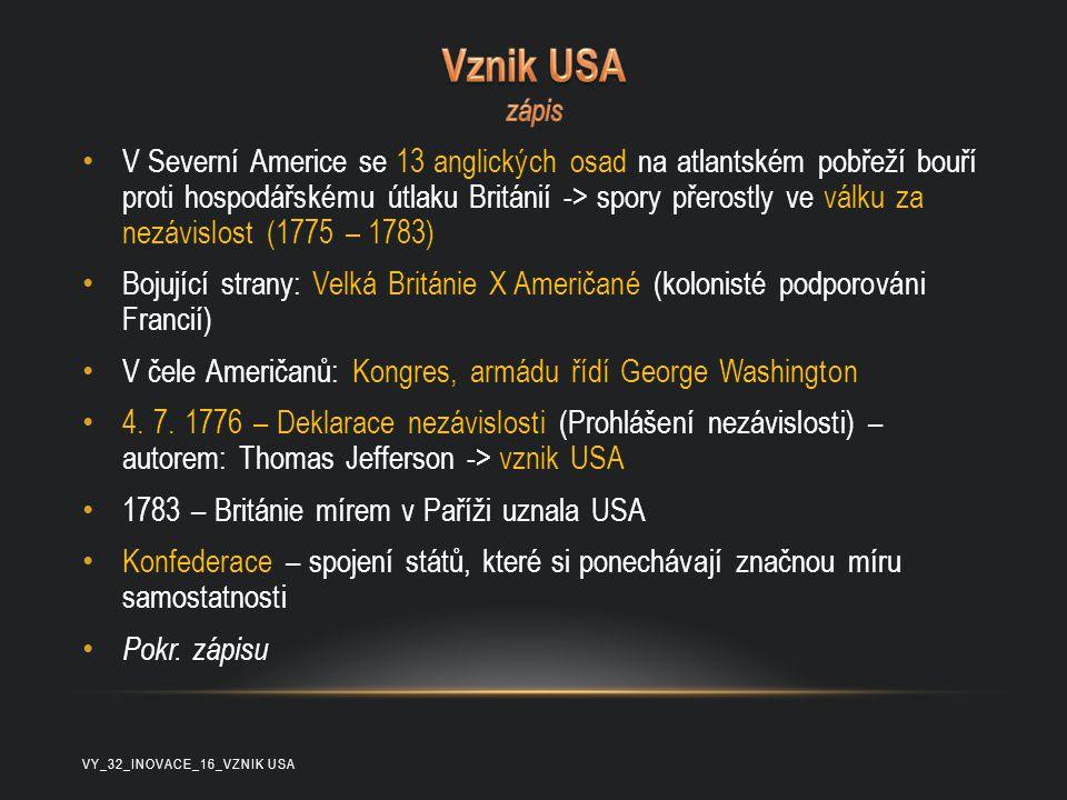 Vznik USA zápis