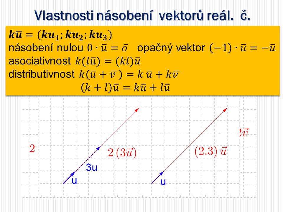 Vlastnosti násobení vektorů reál. č.