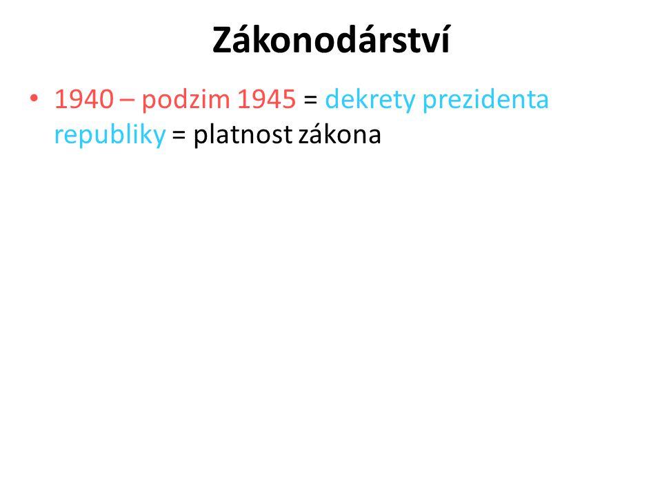 Zákonodárství 1940 – podzim 1945 = dekrety prezidenta republiky = platnost zákona 4
