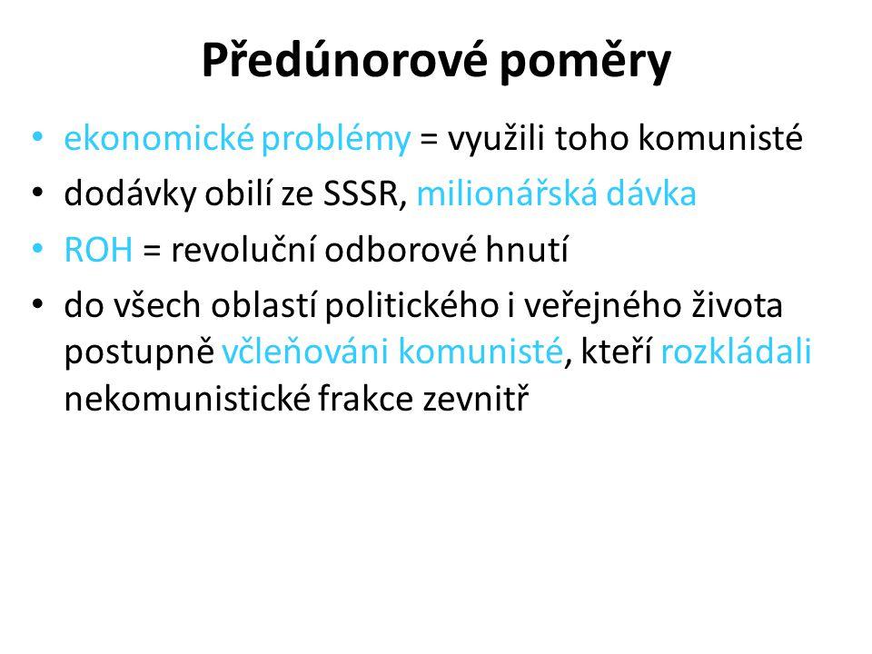 Předúnorové poměry ekonomické problémy = využili toho komunisté