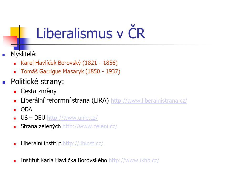 Liberalismus v ČR Politické strany: Myslitelé: Cesta změny