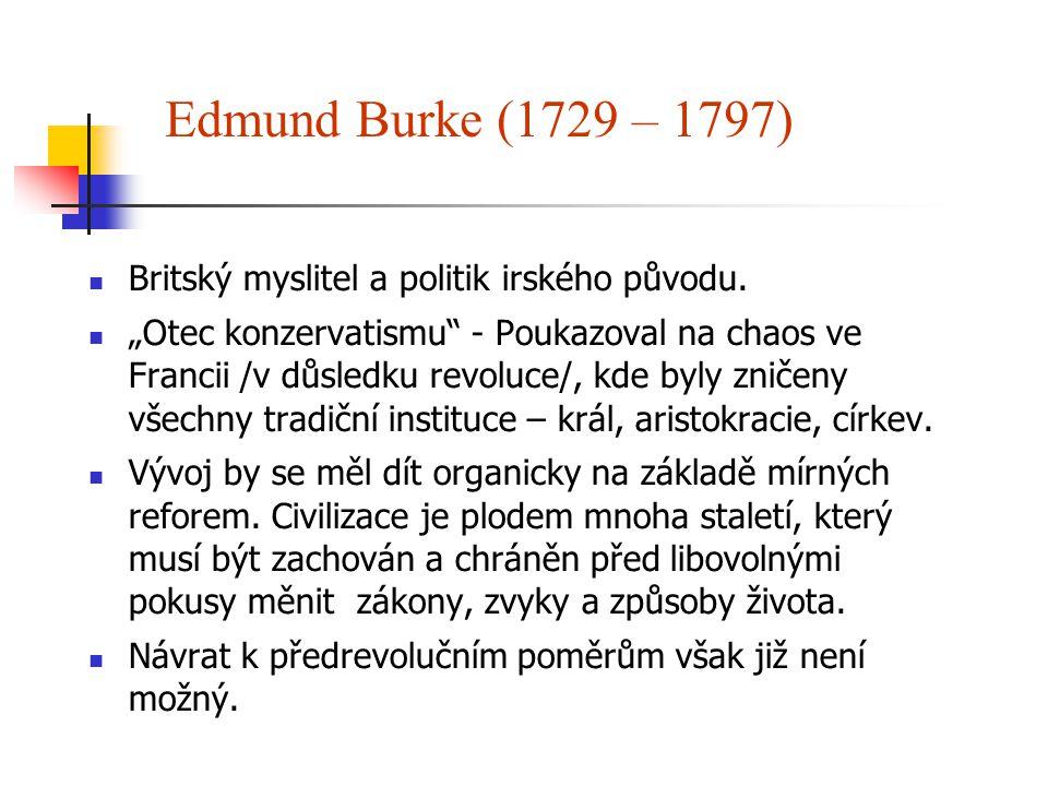 Edmund Burke (1729 – 1797) Britský myslitel a politik irského původu.