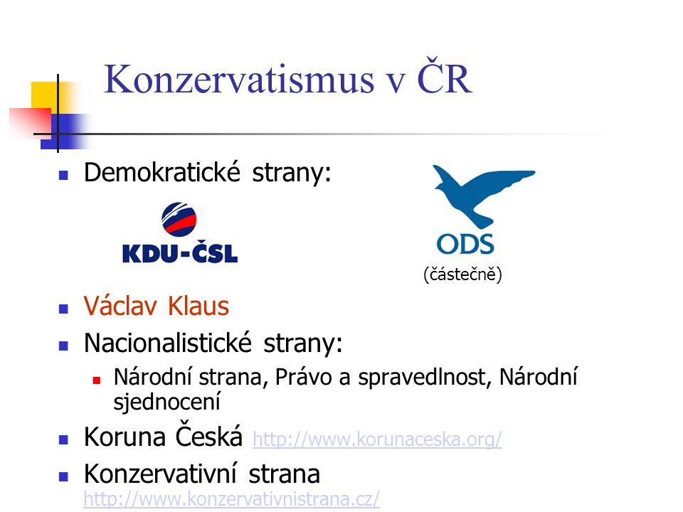 Konzervatismus v ČR Demokratické strany: Václav Klaus
