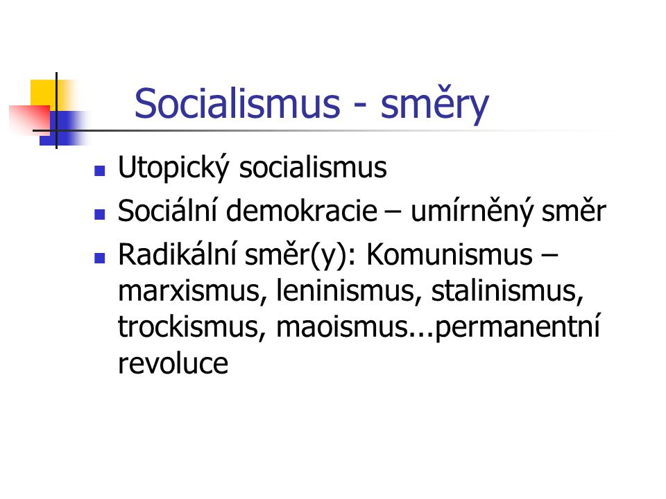 Socialismus - směry Utopický socialismus