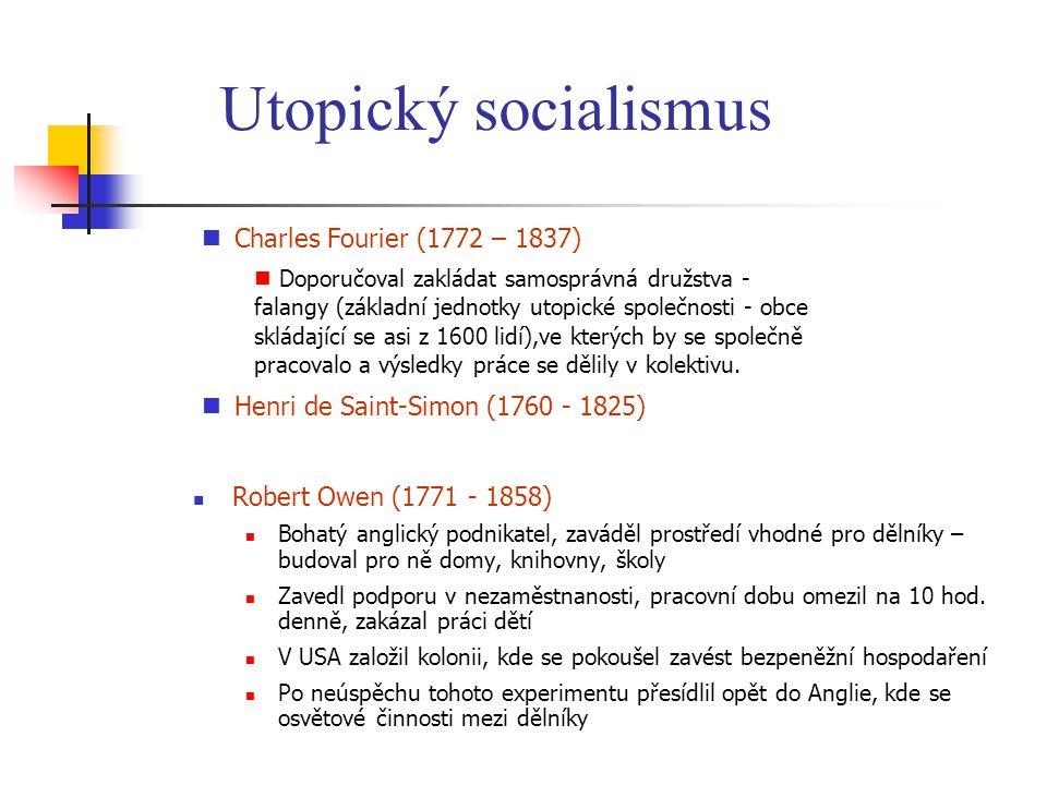 Utopický socialismus Charles Fourier (1772 – 1837)