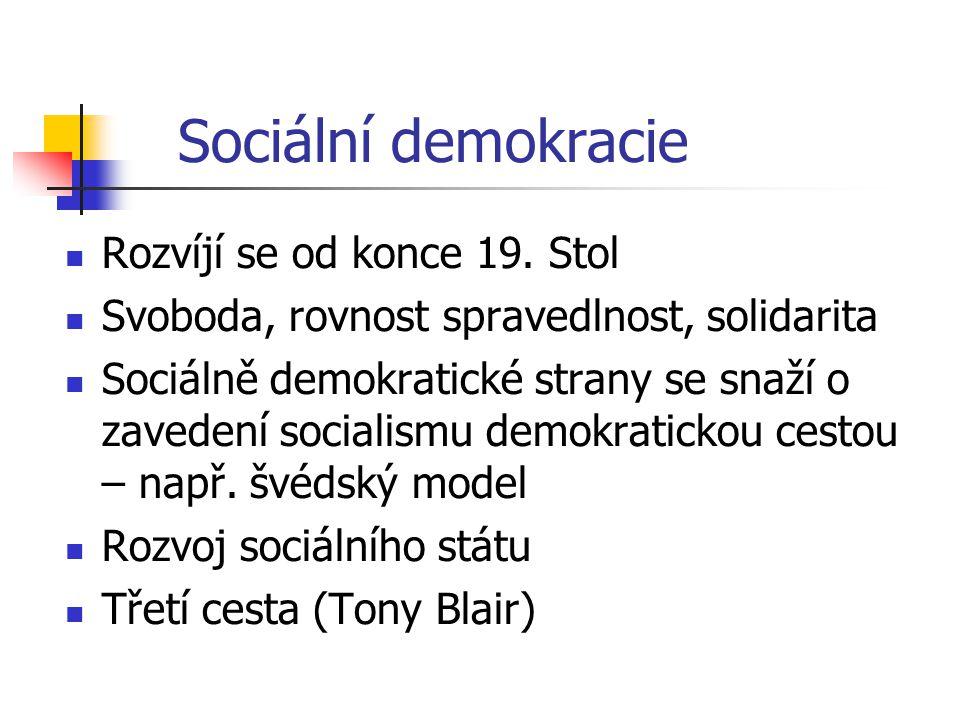 Sociální demokracie Rozvíjí se od konce 19. Stol