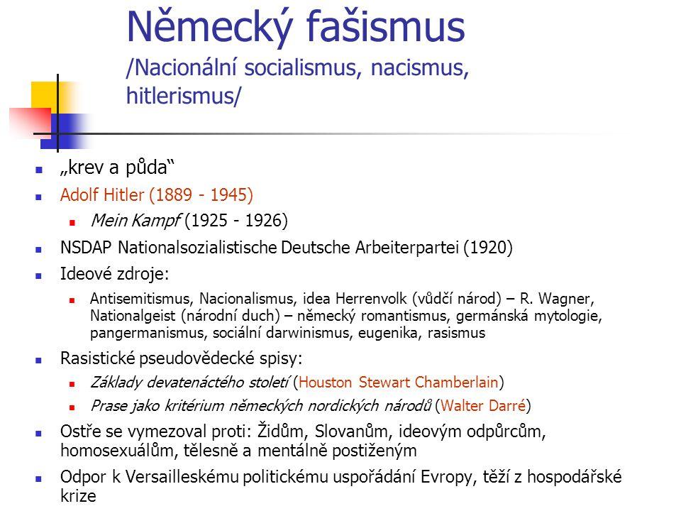 Německý fašismus /Nacionální socialismus, nacismus, hitlerismus/