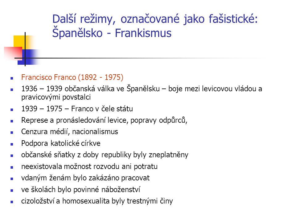 Další režimy, označované jako fašistické: Španělsko - Frankismus