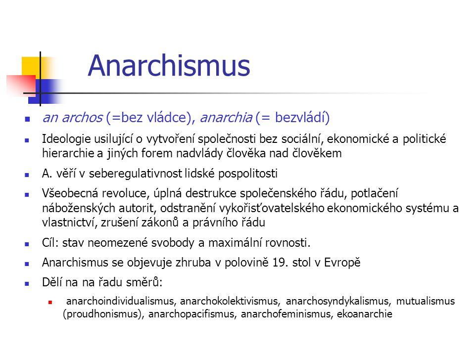 Anarchismus an archos (=bez vládce), anarchia (= bezvládí)