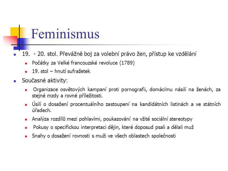 Feminismus 19. - 20. stol. Převážně boj za volební právo žen, přístup ke vzdělání. Počátky za Velké francouzské revoluce (1789)
