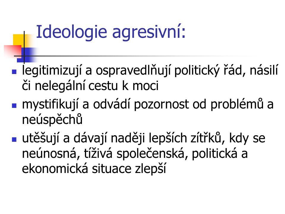 Ideologie agresivní: legitimizují a ospravedlňují politický řád, násilí či nelegální cestu k moci.