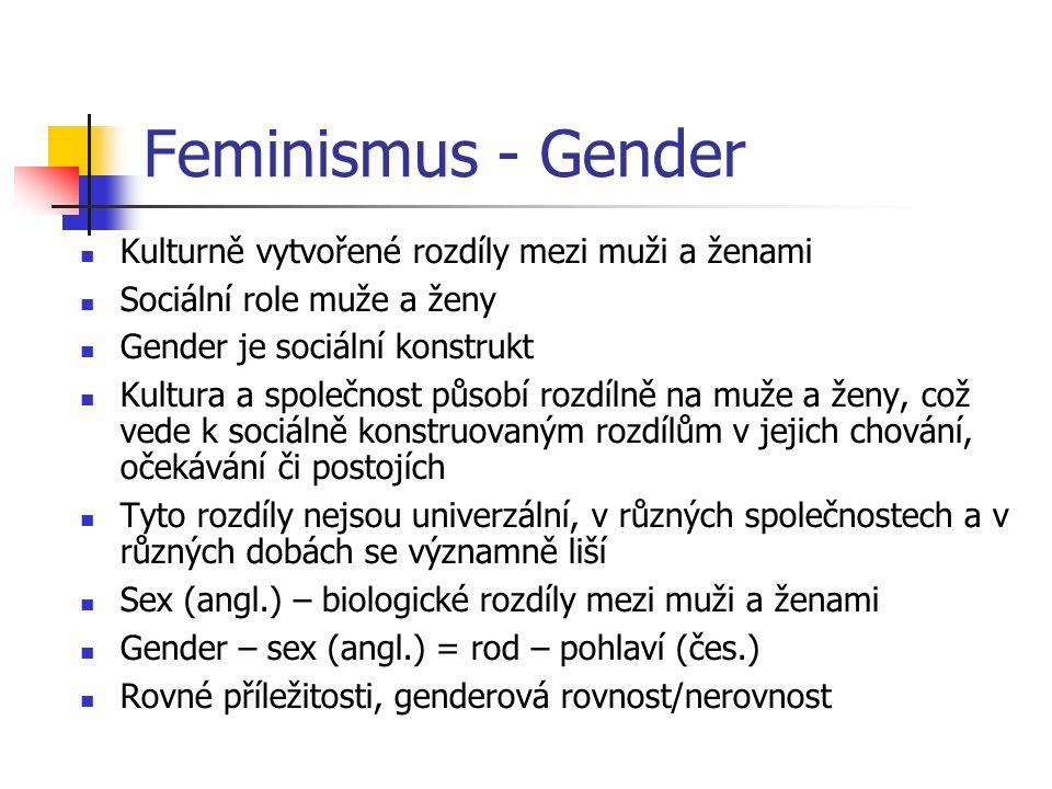 Feminismus - Gender Kulturně vytvořené rozdíly mezi muži a ženami