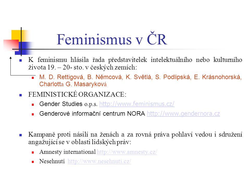 Feminismus v ČR K feminismu hlásila řada představitelek intelektuálního nebo kulturního života 19. – 20- sto. v českých zemích: