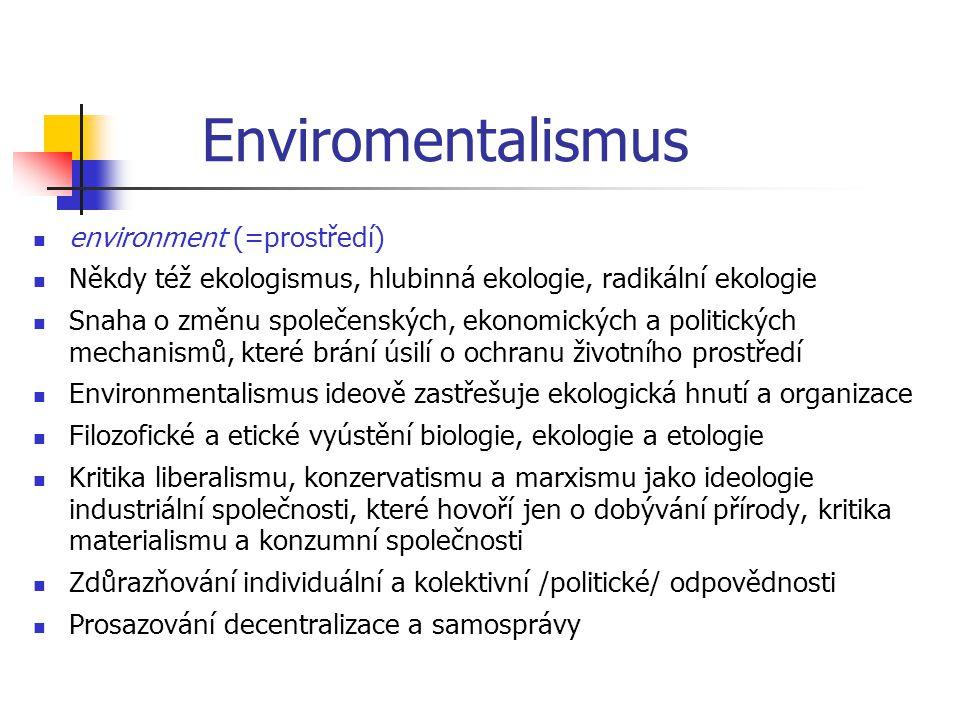 Enviromentalismus environment (=prostředí)