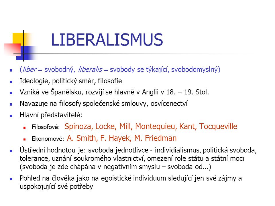LIBERALISMUS (liber = svobodný, liberalis = svobody se týkající, svobodomyslný) Ideologie, politický směr, filosofie.