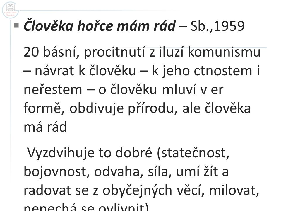 Člověka hořce mám rád – Sb.,1959
