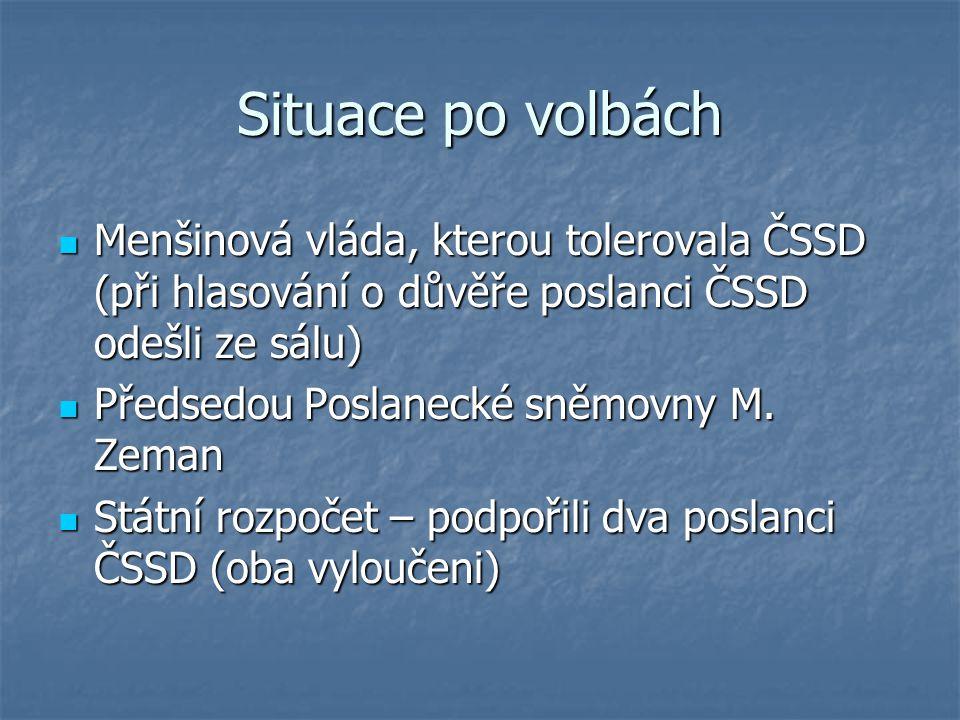 Situace po volbách Menšinová vláda, kterou tolerovala ČSSD (při hlasování o důvěře poslanci ČSSD odešli ze sálu)