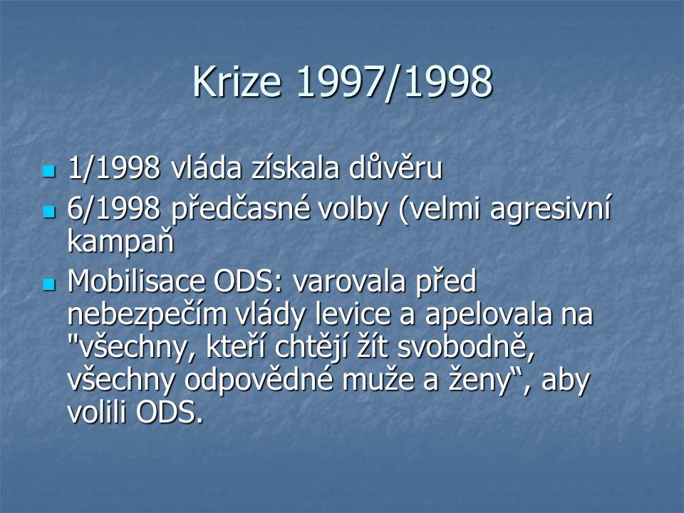 Krize 1997/1998 1/1998 vláda získala důvěru