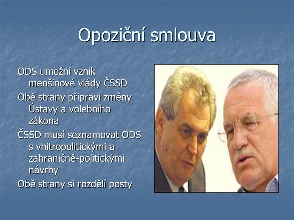 Opoziční smlouva ODS umožní vznik menšinové vlády ČSSD