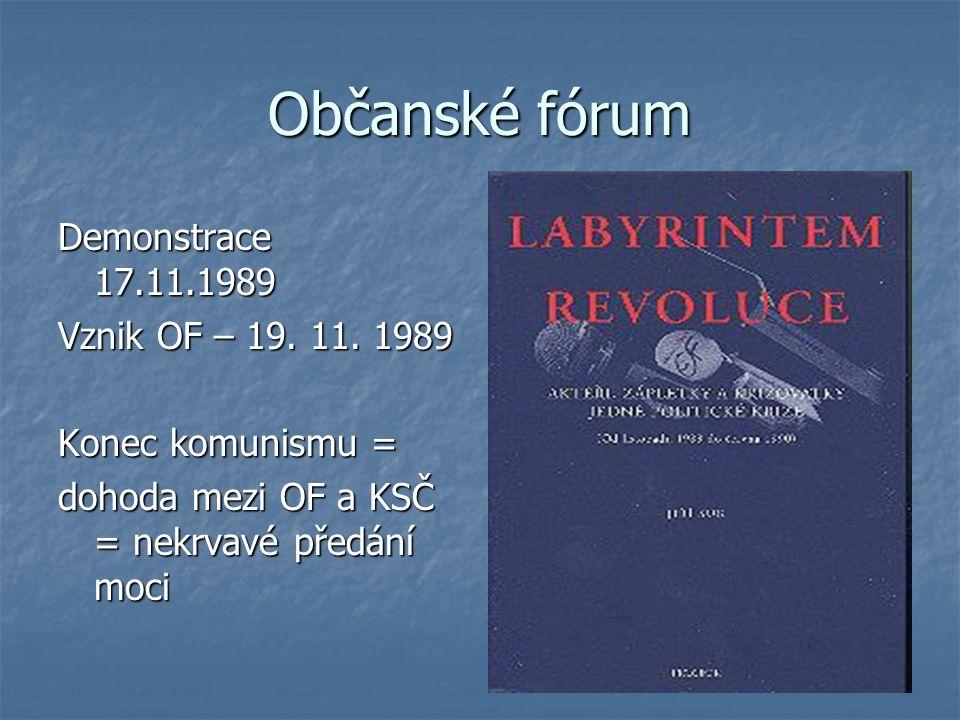 Občanské fórum Demonstrace 17.11.1989 Vznik OF – 19. 11. 1989