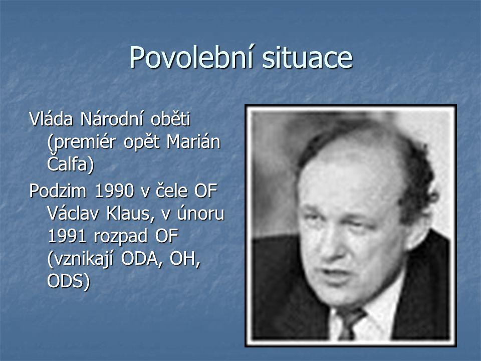 Povolební situace Vláda Národní oběti (premiér opět Marián Čalfa)