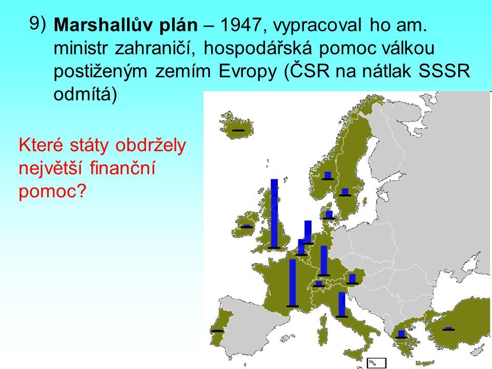 9) Marshallův plán – 1947, vypracoval ho am. ministr zahraničí, hospodářská pomoc válkou postiženým zemím Evropy (ČSR na nátlak SSSR odmítá)