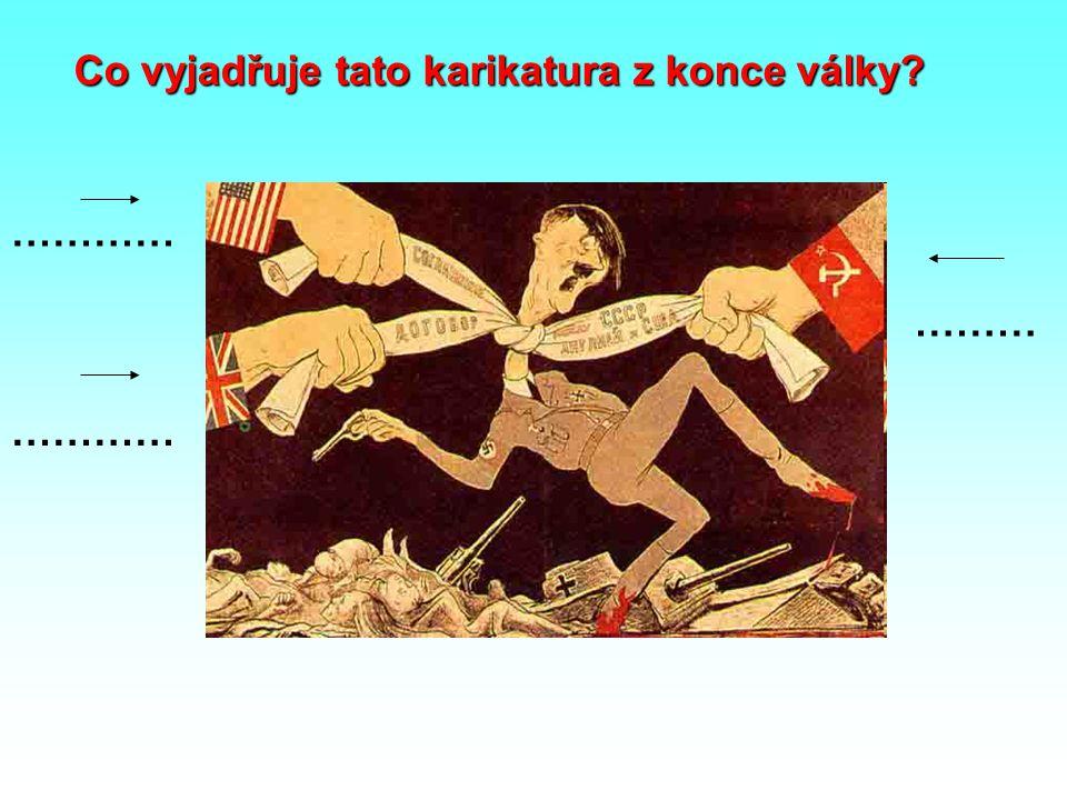Co vyjadřuje tato karikatura z konce války
