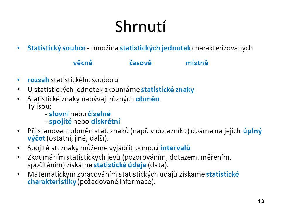 Shrnutí Statistický soubor - množina statistických jednotek charakterizovaných věcně časově místně.