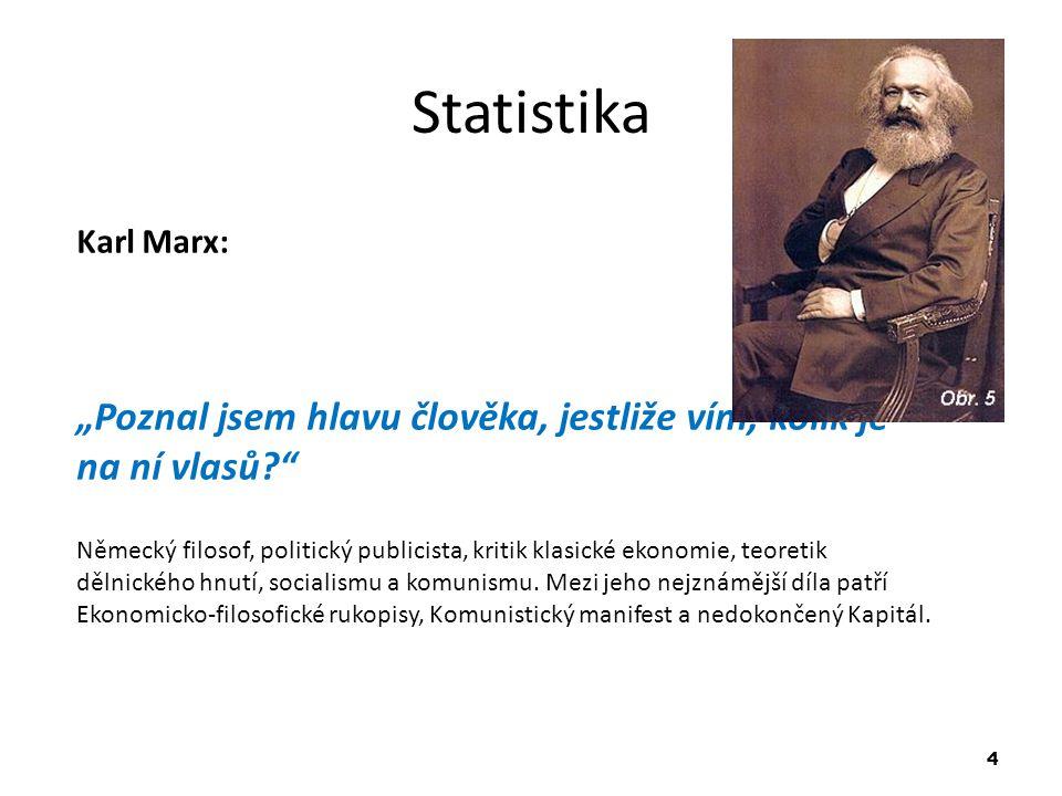 """Statistika Karl Marx: """"Poznal jsem hlavu člověka, jestliže vím, kolik je na ní vlasů"""