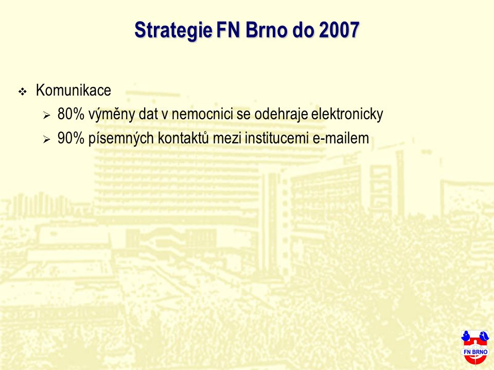 Strategie FN Brno do 2007 Komunikace