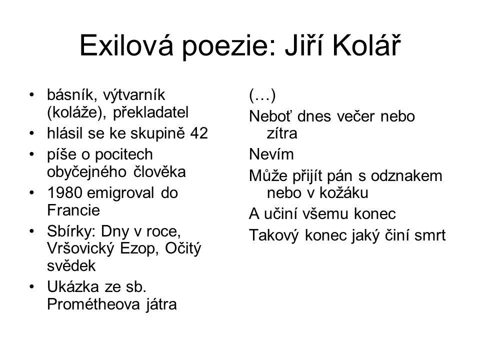 Exilová poezie: Jiří Kolář