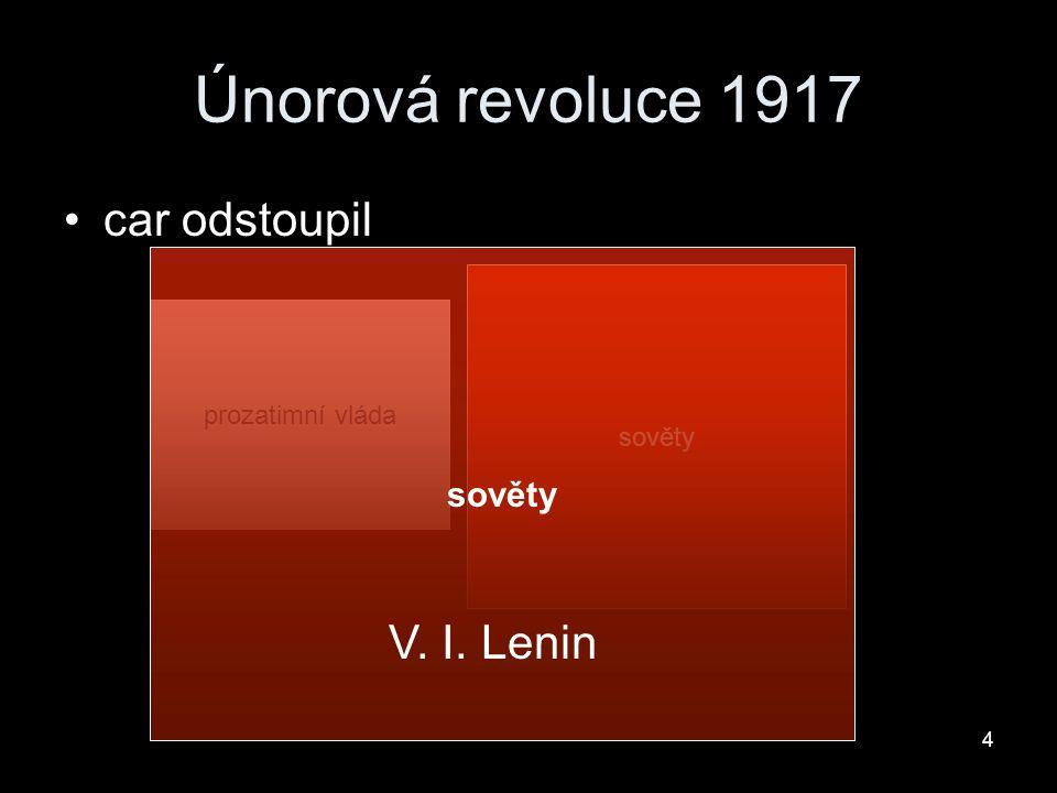 Únorová revoluce 1917 car odstoupil V. I. Lenin sověty sověty sověty