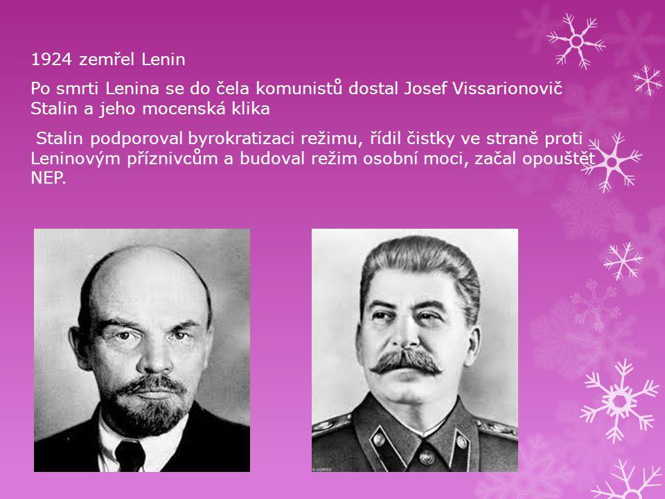 1924 zemřel Lenin Po smrti Lenina se do čela komunistů dostal Josef Vissarionovič Stalin a jeho mocenská klika.