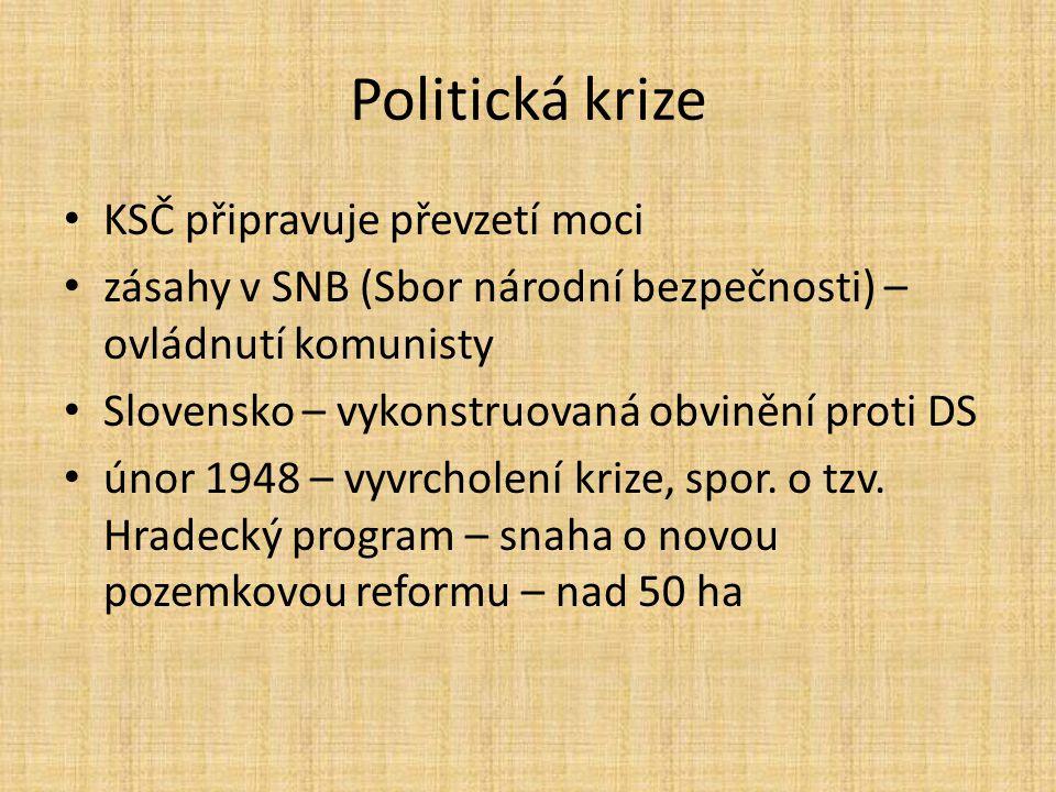 Politická krize KSČ připravuje převzetí moci