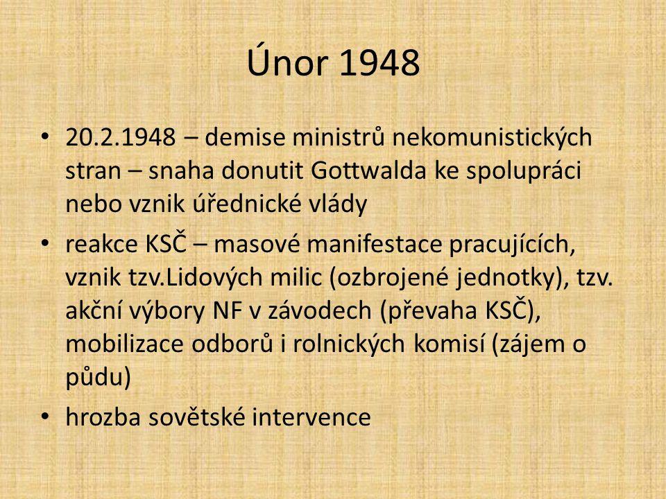 Únor 1948 20.2.1948 – demise ministrů nekomunistických stran – snaha donutit Gottwalda ke spolupráci nebo vznik úřednické vlády.