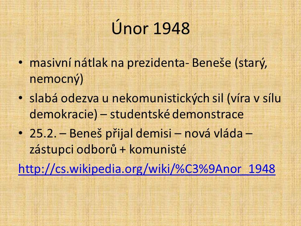 Únor 1948 masivní nátlak na prezidenta- Beneše (starý, nemocný)