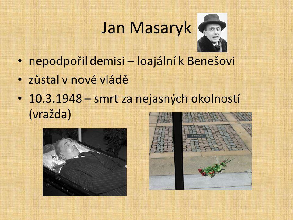Jan Masaryk nepodpořil demisi – loajální k Benešovi