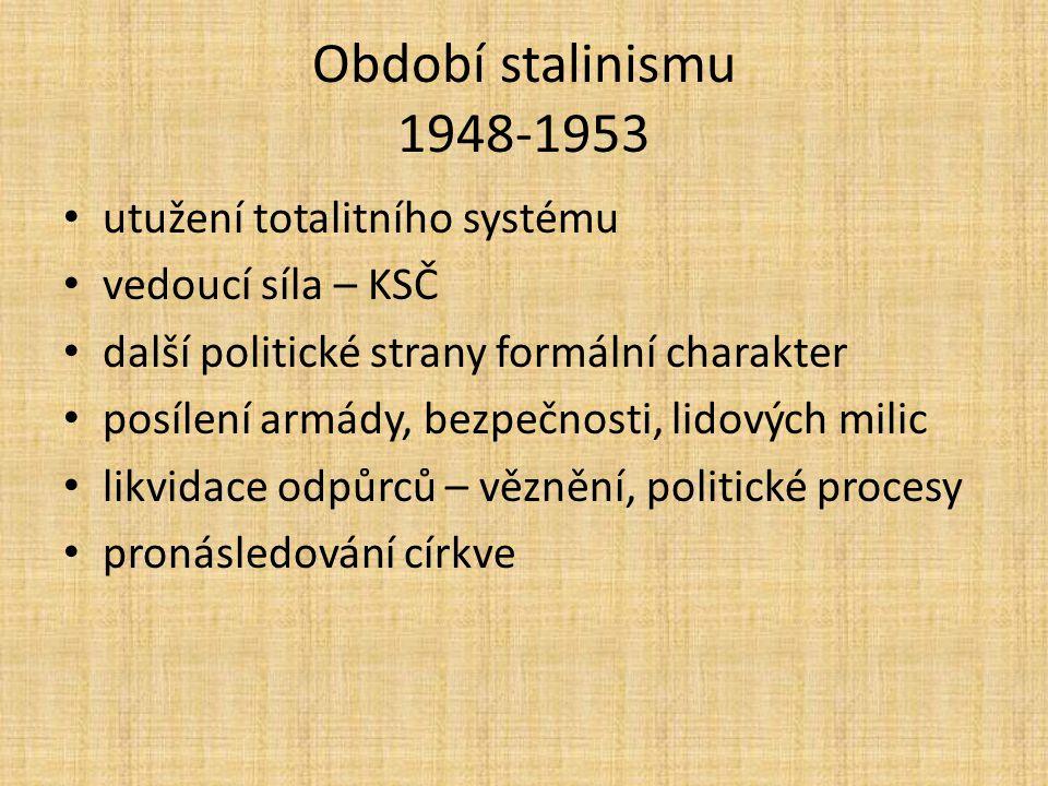 Období stalinismu 1948-1953 utužení totalitního systému