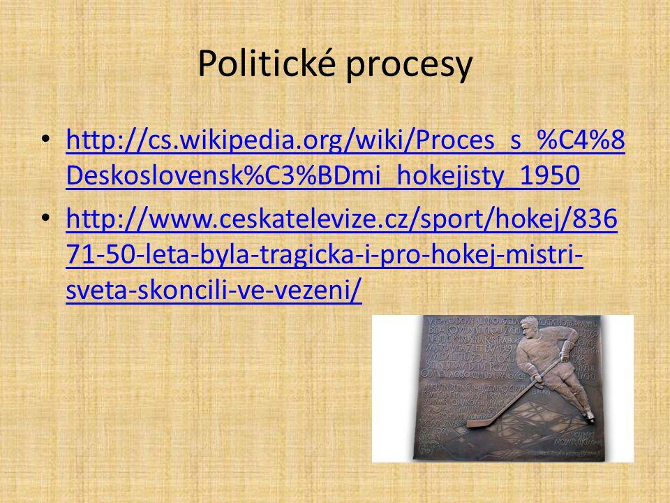 Politické procesy http://cs.wikipedia.org/wiki/Proces_s_%C4%8Deskoslovensk%C3%BDmi_hokejisty_1950.