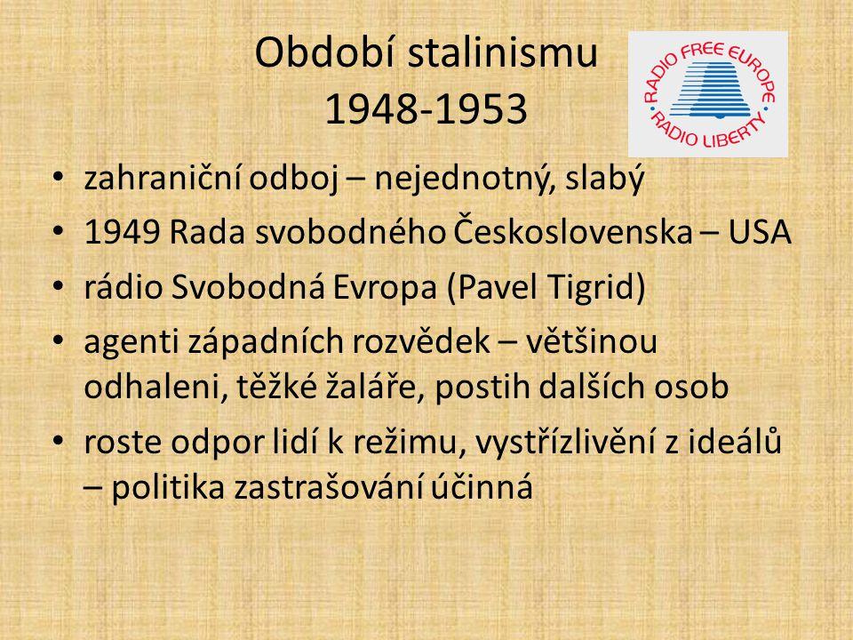 Období stalinismu 1948-1953 zahraniční odboj – nejednotný, slabý
