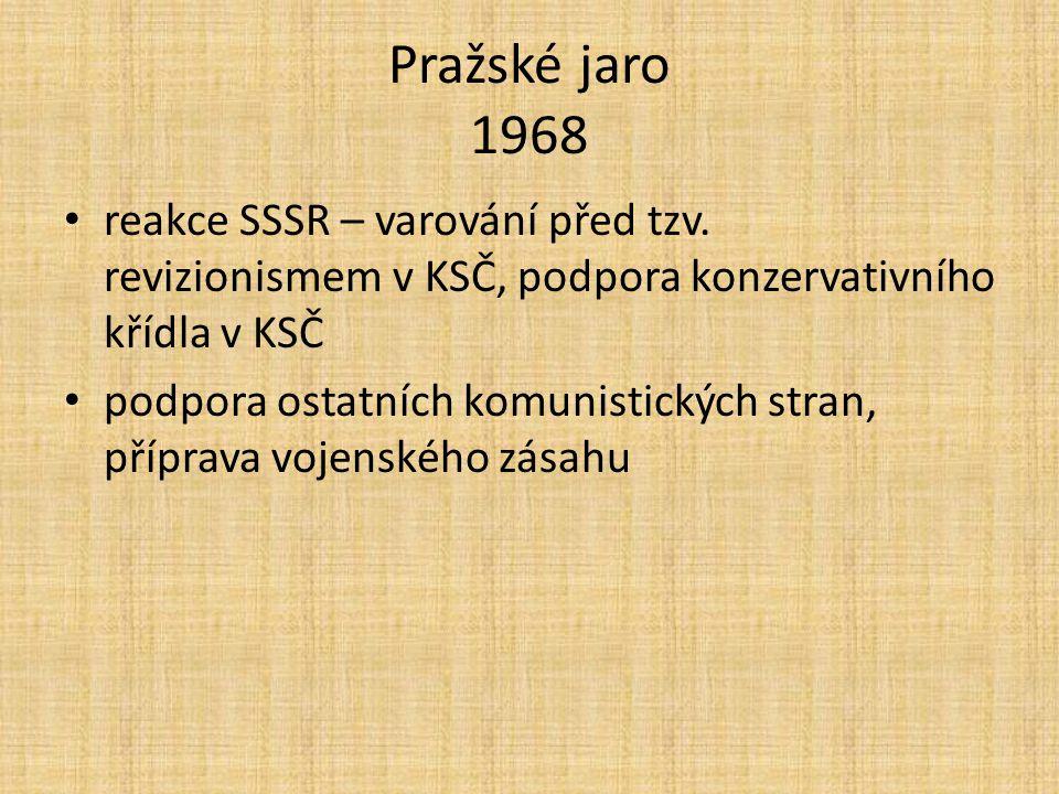Pražské jaro 1968 reakce SSSR – varování před tzv. revizionismem v KSČ, podpora konzervativního křídla v KSČ.