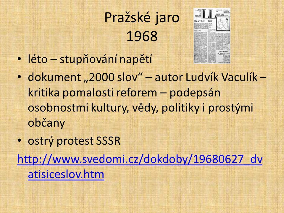 Pražské jaro 1968 léto – stupňování napětí