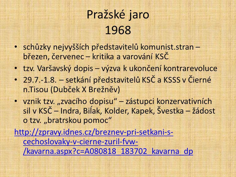 Pražské jaro 1968 schůzky nejvyšších představitelů komunist.stran – březen, červenec – kritika a varování KSČ.