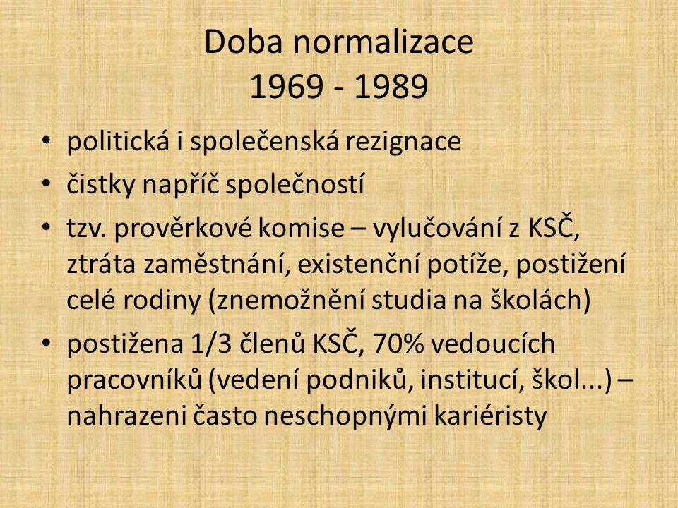 Doba normalizace 1969 - 1989 politická i společenská rezignace
