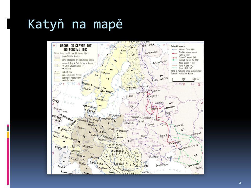Katyň na mapě Vesnice v Rusku, asi 18 kilometrů západně od Smolensku.