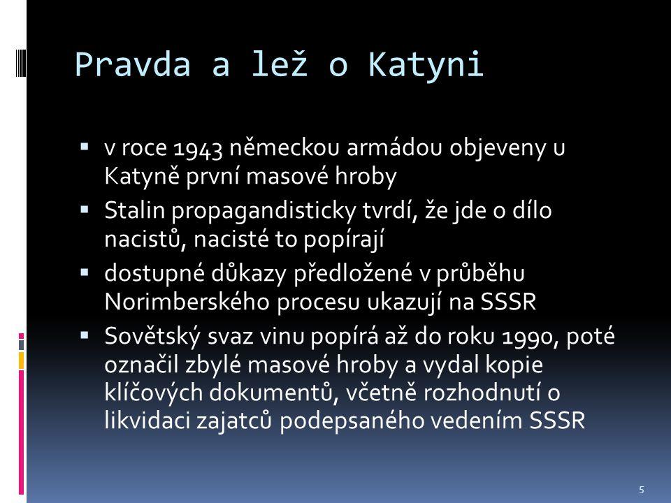 Pravda a lež o Katyni v roce 1943 německou armádou objeveny u Katyně první masové hroby.
