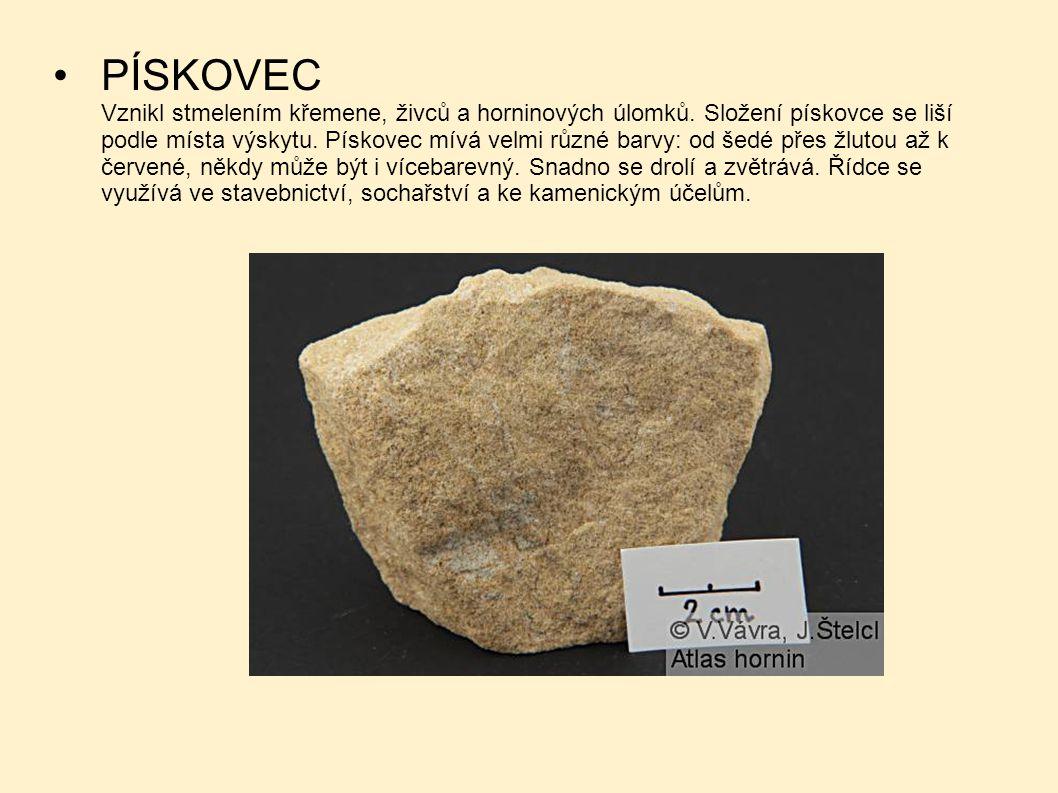 PÍSKOVEC. Vznikl stmelením křemene, živců a horninových úlomků