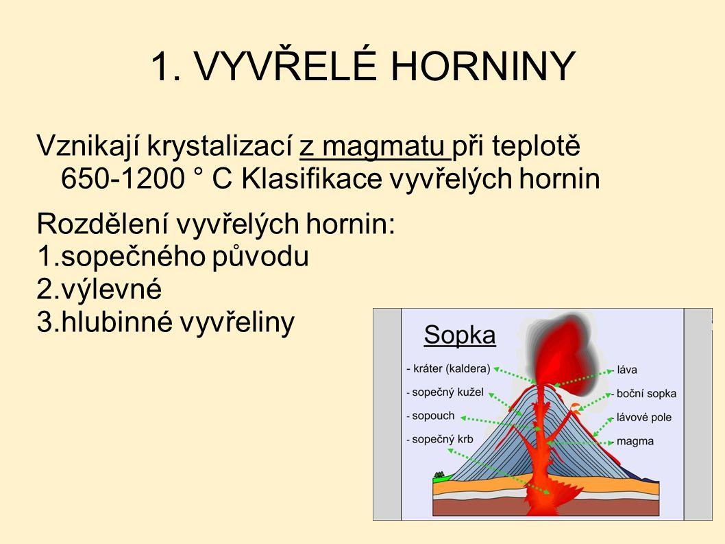 1. VYVŘELÉ HORNINY Vznikají krystalizací z magmatu při teplotě 650-1200 ° C Klasifikace vyvřelých hornin.
