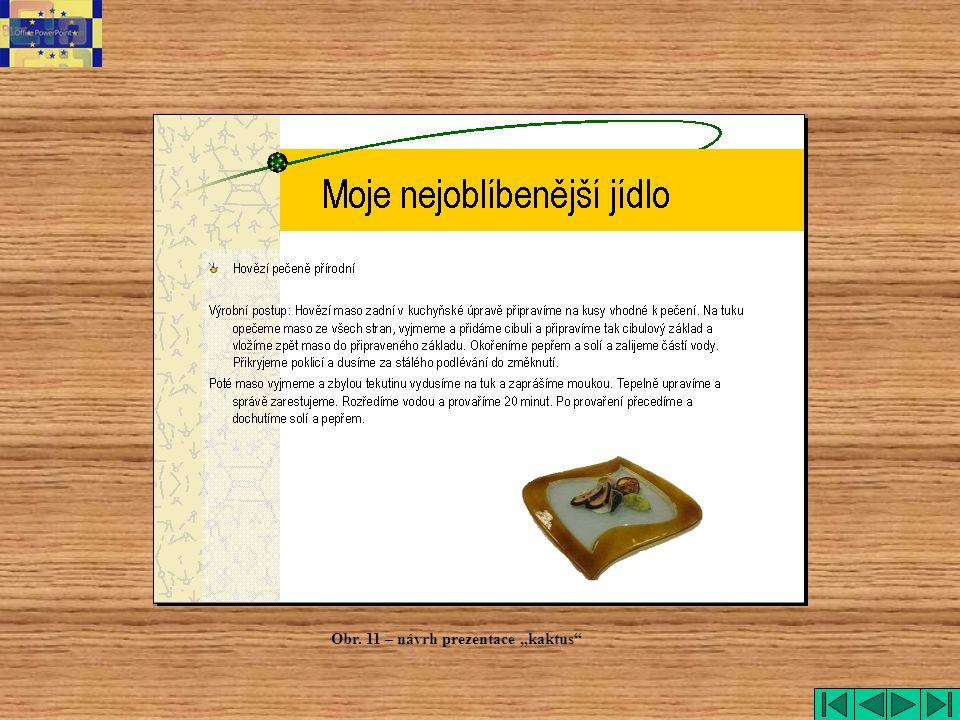 "Kaktus Obr. 11 – návrh prezentace ""kaktus"